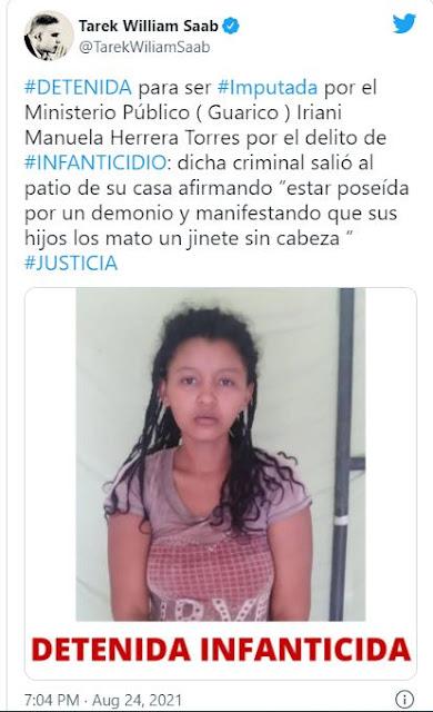 Detienen a la mujer que mató a sus dos bebés a golpes en Guárico al estar poseída por Chávez