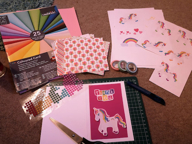 Making a rainbow unicorn thank you card