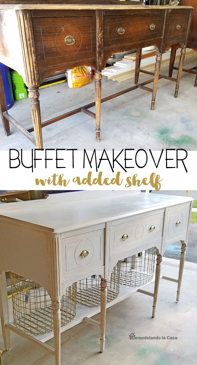 a dark buffet is transformed with paint