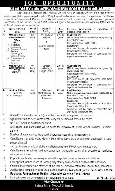 fatima-jinnah-medical-university-fjmu-jobs-2021
