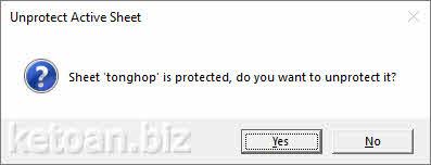 Khóa và mở khóa (Protect/Unprotect) vùng dữ liệu trong bảng tính excel
