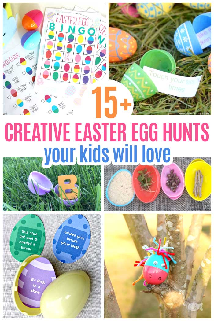 Creative and fun Easter egg hunt ideas for kids! Everything from free Easter printables to scavenger hunts, glow in the dark egg hunts and a unicorn egg hunt too! So many fun Easter ideas for kids. #egghunt #Easteregghunt #Easter