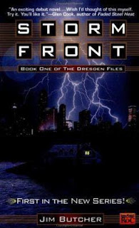Storm Front book cover (a web of lightning over the darkened Chicago skyline)