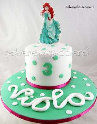 cake design principesse disney pasta di zucchero cialda alimentare compleanno bambina ariel elsa polvere di zucchero