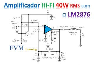 Amplificador Classe AB de Alto Desempenho 40 Watts RMS com CI LM2876