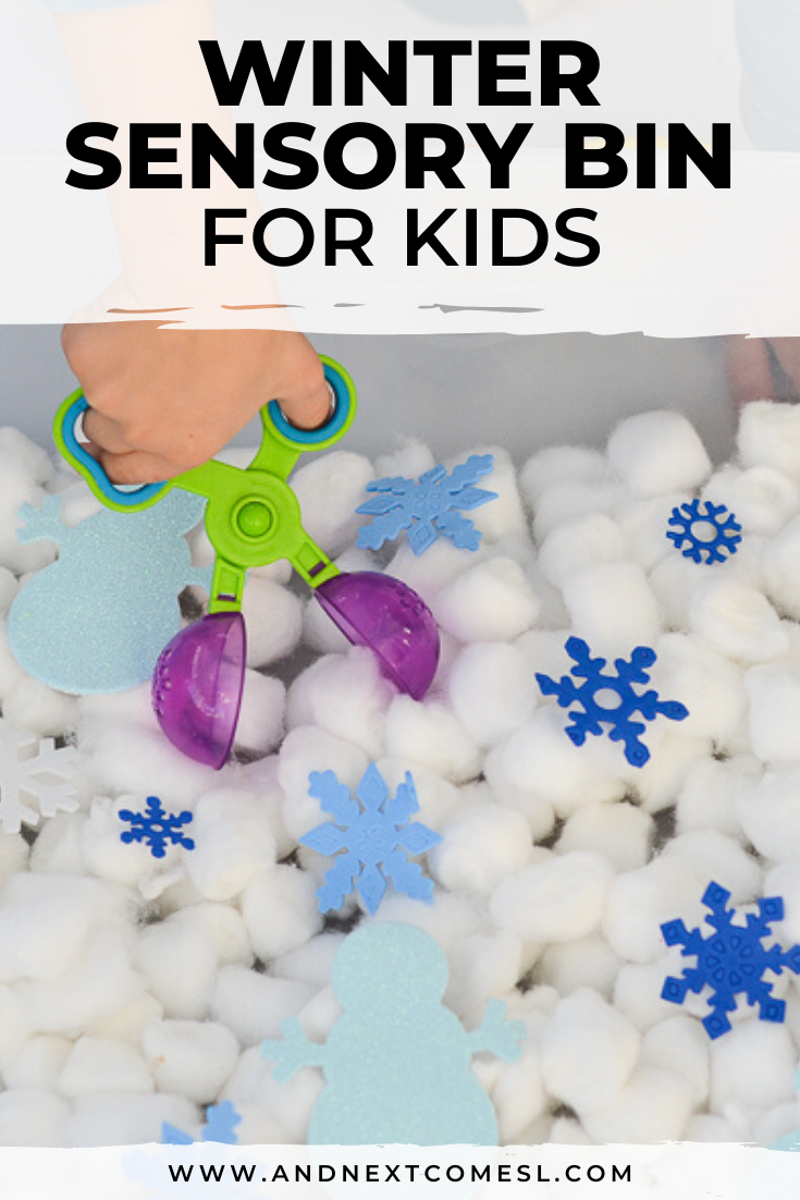 Easy winter sensory bin activity for toddlers, preschool, and kindergarten kids to work on fine motor skills