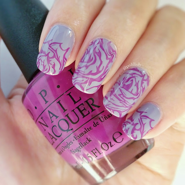 Purple roses stamping nail art by polilish