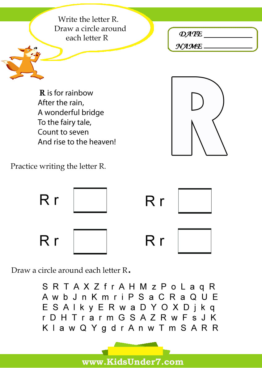 Kids Under 7: Letter R Worksheets