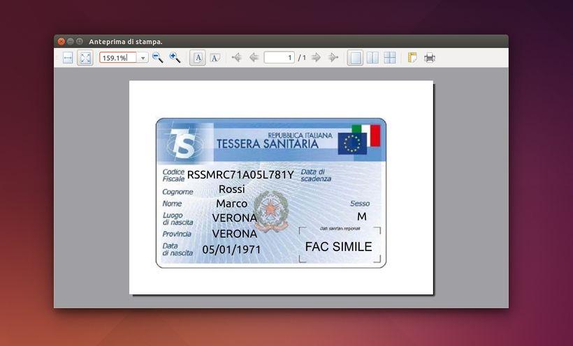 Codice Fiscale in Ubuntu - Stampa