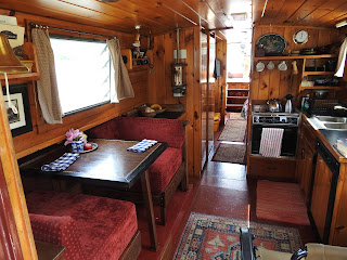 kitchen/salon on solar canal boat Dragonfly (AKA SlowBoat)