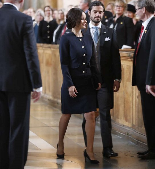 Queen Silvia, Princess Victoria, Princess Estelle, Prince Carl Philip, Princess Sofia, Chris O'Neill at Te Daum for Princess Adrienne Josephine Alice