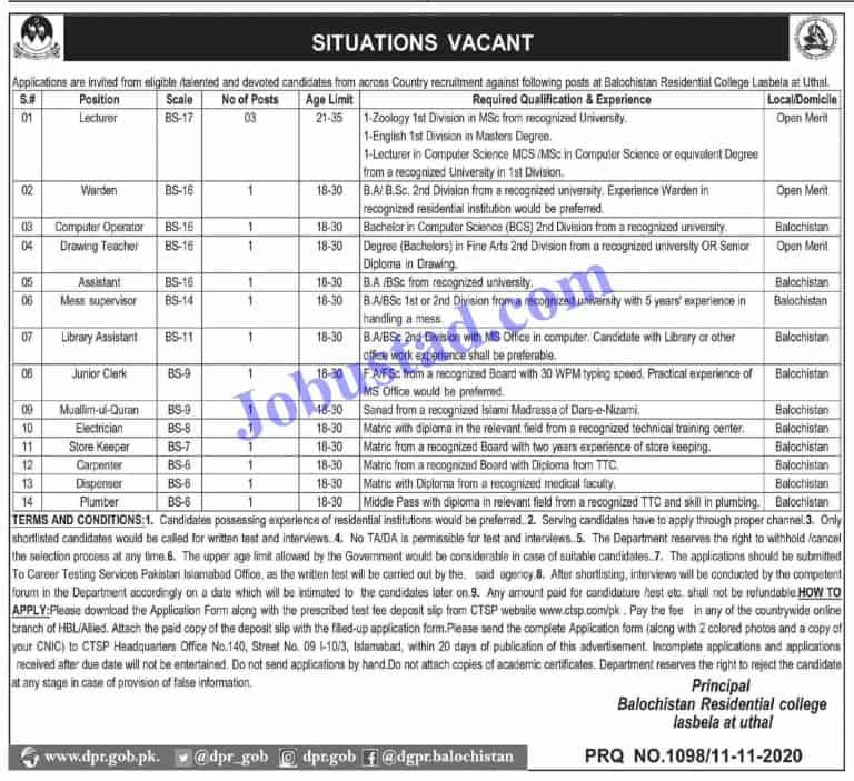 Jobs in Govt of Balochistan Residential College Lasbela 2020