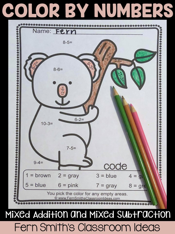 Your students will adore these Ten Awesome Animals Color By Code Worksheets for Addition and Subtraction. Ten pages are included for your students to learn and review important skills at the same time as having fun in YOUR classroom! You will love the no prep, print and go Color Your Answers Worksheets for mixed addition and mixed subtraction with all ANSWER KEYS Included!  This math resource includes: * Five Mixed Addition pages. * Five Mixed Subtraction pages. * Ten Color Coded Answer Keys