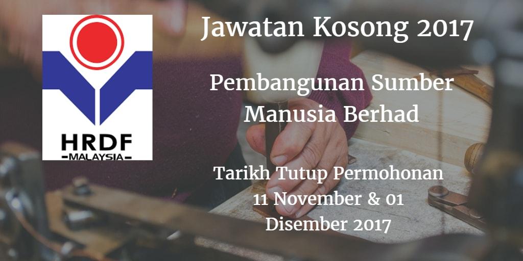 Jawatan Kosong Pembangunan Sumber Manusia Berhad 11 November & 01 Disember 2017