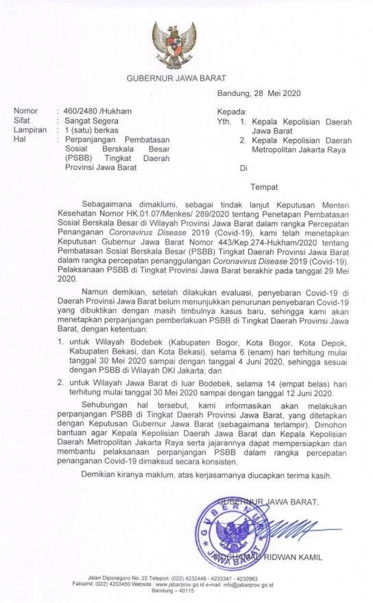 Surat Keputusan Gubernur Jawa Barat Perihal Perpanjangan PSBB