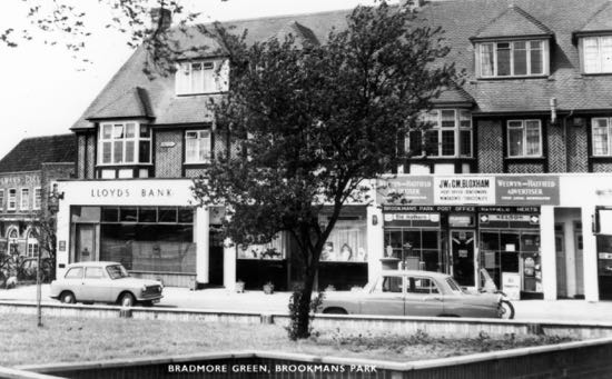 Photograph of Postcard c1960 showing the post office on Brookmans Park's Bradmore Green Image from the Peter Miller Collection