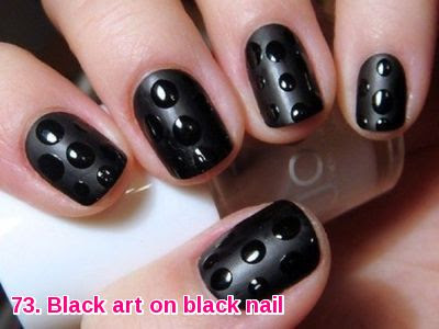Black art on black nail