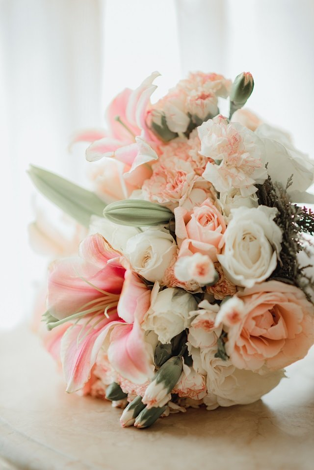 bridal bouquet pink and white flowers