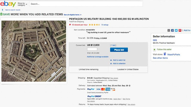 Funcionários militares dos EUA ficaram atônitos ao descobrir que o grupo terrorista islâmico colocou o Pentágono em leilão no eBay.