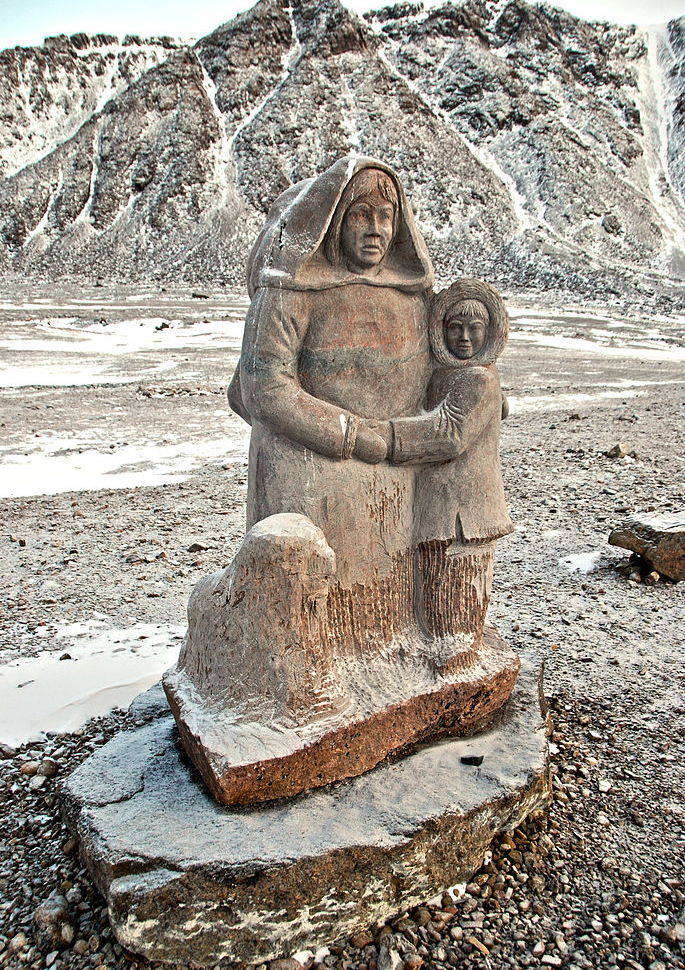 Looty Pijamini's monument to the first Inuit settlers in Grise Fiord.