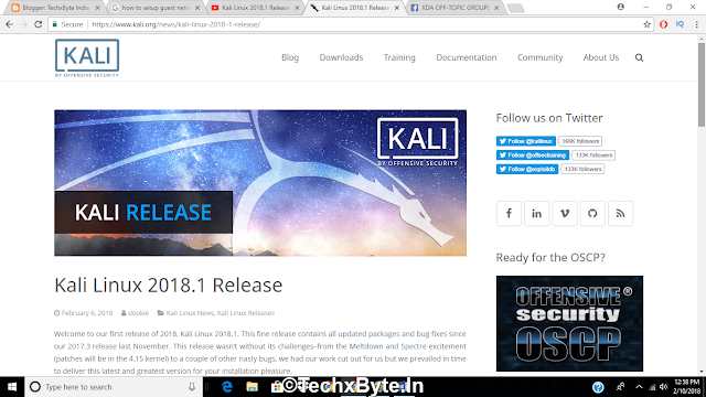 Official Kali Linux 2018.1 Relesed - Kernel Updates & Pathces & What's New?  In Hindi techxbyte.in