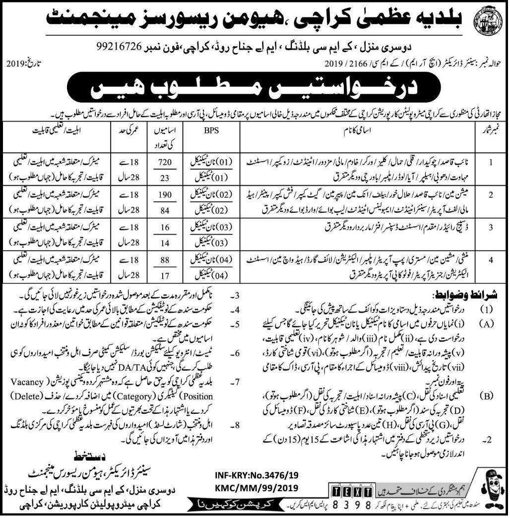 1150+ Jobs in Karachi Metropolitan Corporation 2019
