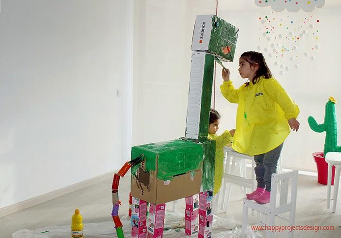 reciclaje con MAKEDO: dinosaurio
