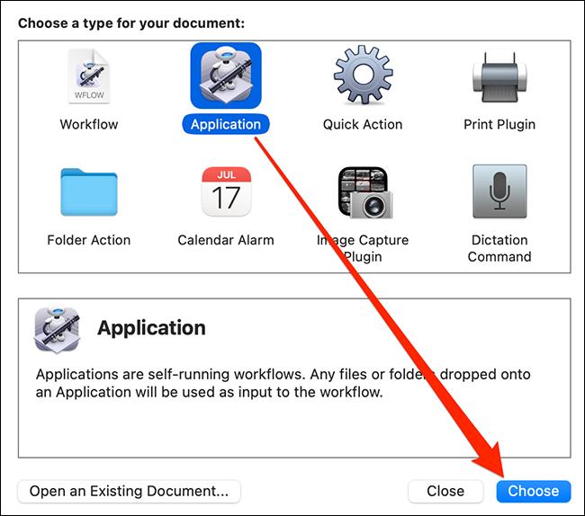"""حدد """"تطبيق"""" وانقر فوق """"اختيار"""" في Automator."""