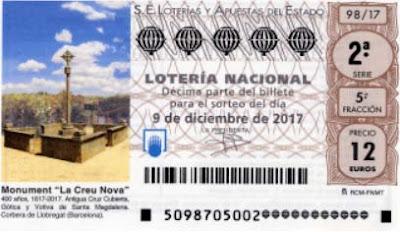 detalle de uno de los decimos de la lotería nacional