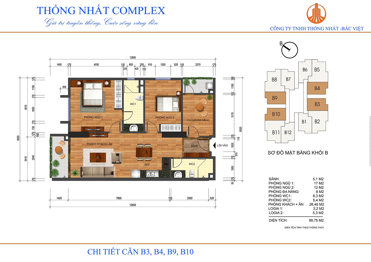 Thiết kế mặt bằng chi tiết căn hộ 88,75 m2 Thông Nhất Complex