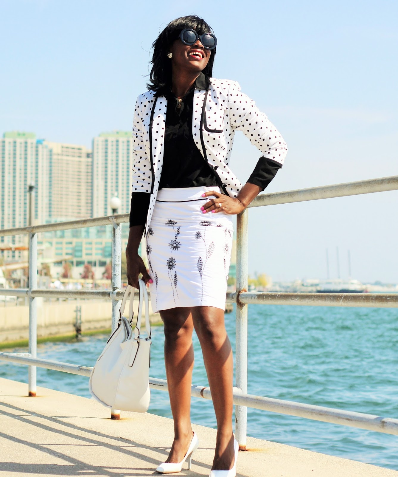 A workday/weekday outfit wearing a polkadot blazer by Express
