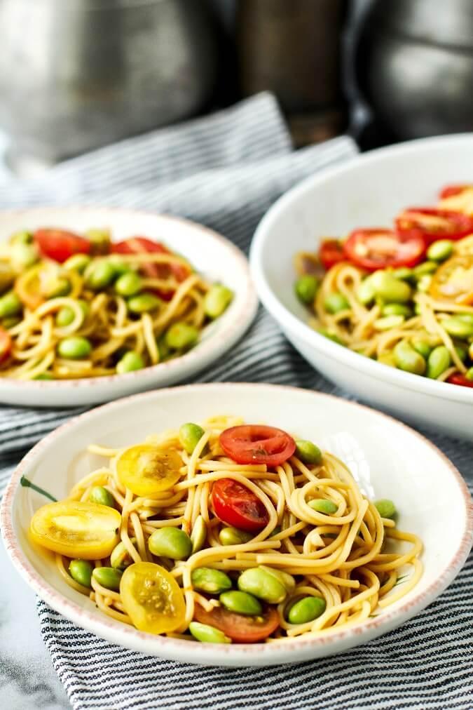 Edamame Noodle Salad servings