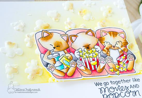 Movies and Popcorn Cat Card by Tatiana Trafimovich | Newton's Movie Night Stamp Set and Popcorn Stencil by Newton's Nook Designs #newtonsnook #handmade