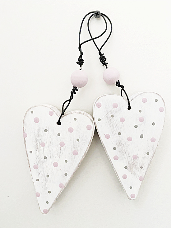 hanging polka dotted wooden hearts