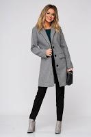 Palton SunShine gri casual din stofa cu un croi drept