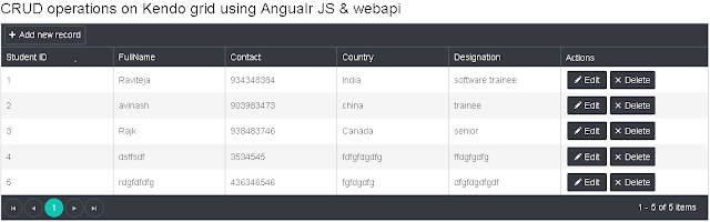 CRUD operations in Kendo grid using angular js and webapi