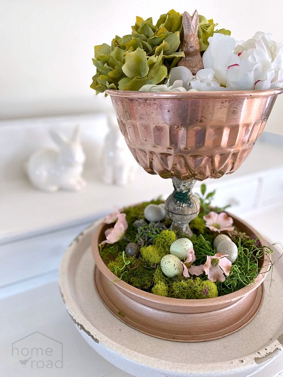 Easter Rose gold tiered tray with moss and faux flowers