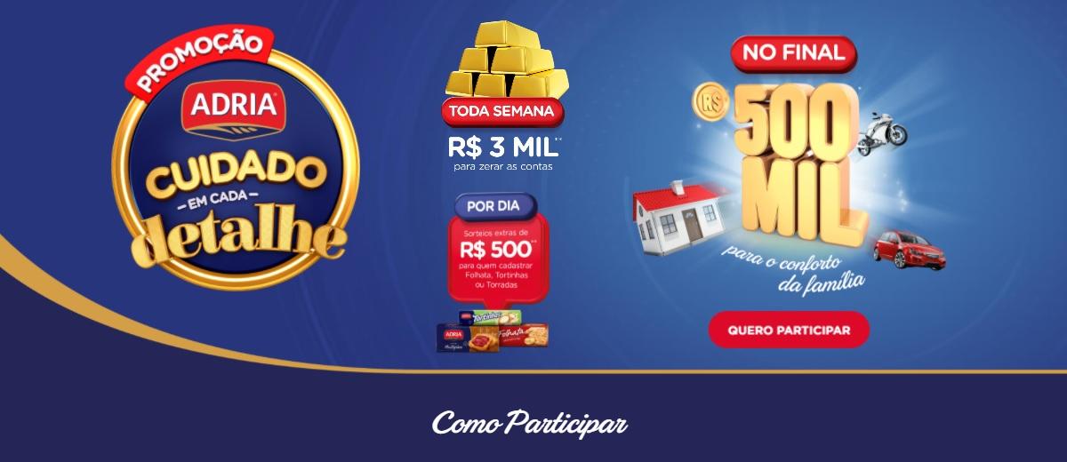Participar Promoção Adria 2020 Prêmio 500 Mil Reais e Muito Mais