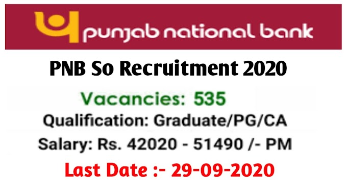 PNB Recruitment 2020 Apply online 535 Post