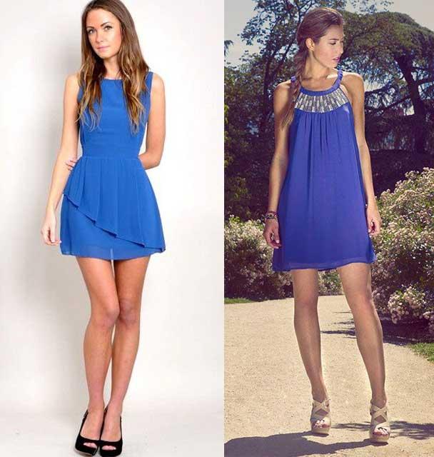 como combinar el vestido azul