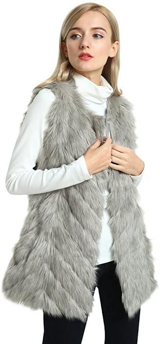 Best Grey Faux Fur Vest Sleeveless Waistcoat Jacket For Women