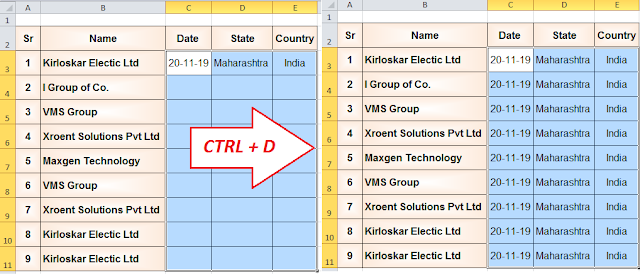 3 Useful Excel shortcut keys for Fast Data Entry | Auto Fill | Fill down, Fill Left, Fill Right