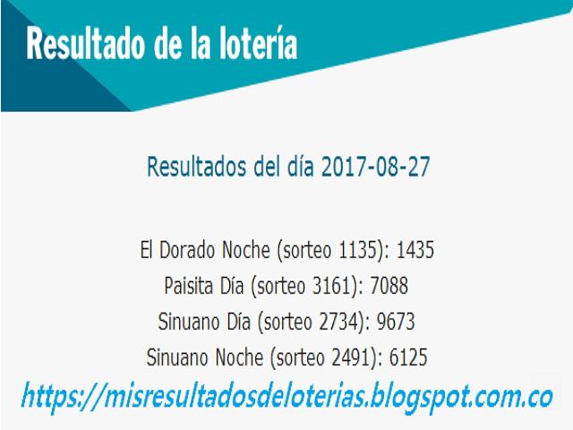 Como jugo la lotería anoche | Resultados diarios de la lotería y el chance | resultados del dia 27-08-2017