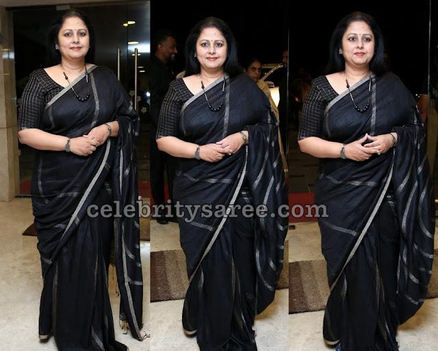 Jayasudha Black Stripes Silk Saree