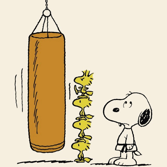 Snoopy at karate watching Woodstock on a stack of bird friends, trying to hit the punching bag. Does sighing count as exercise?