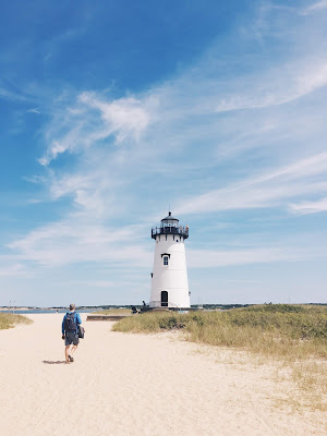 Lighthouse on the beach in Martha's Vineyard