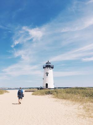 Lighthouse on the beach in Martha's Vineyard
