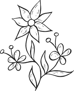 gambar bunga kartun hitam putin