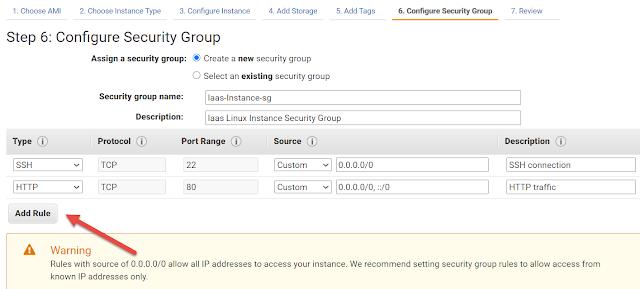 AWS EC2 Instance Security Group Configuration
