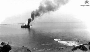 13 December 1940 worldwartwo.filminspector.com Australian freighter Orungal on fire